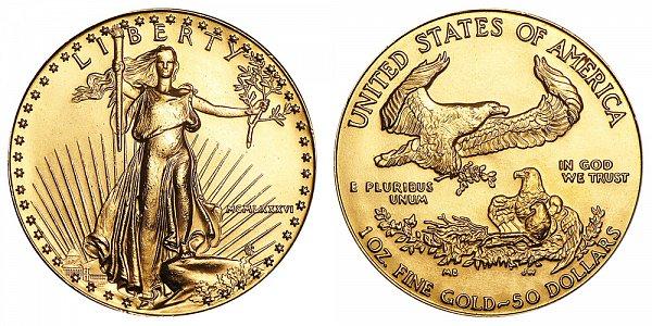 1986 One Ounce American Gold Eagle - 1 oz Gold $50  - MCMLXXXVI