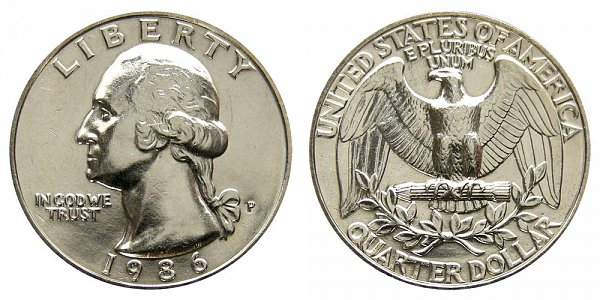 1986 P Washington Quarter