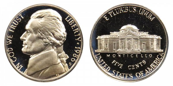 1986 S Jefferson Nickel Proof