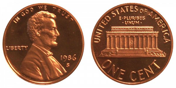 1986 S Lincoln Memorial Cent Penny Proof