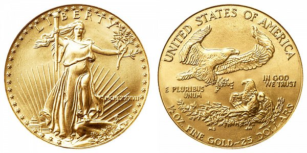 1987 Half Ounce American Gold Eagle - 1/2 oz Gold $25  - MCMLXXXVII