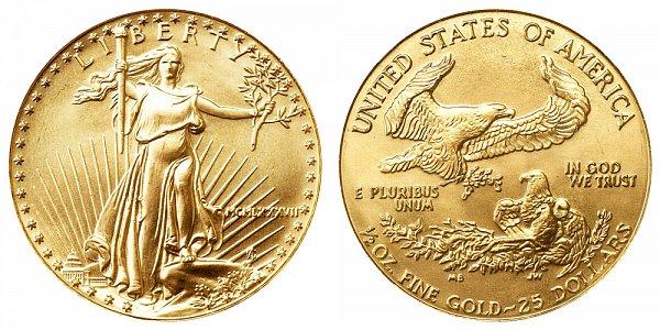 1987 Half Ounce American Gold Eagle - 1/2 oz Gold $25  - MCMLXXXVII
