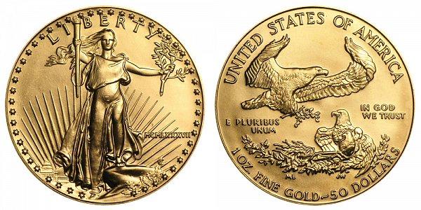 1987 One Ounce American Gold Eagle - 1 oz Gold $50  - MCMLXXXVII