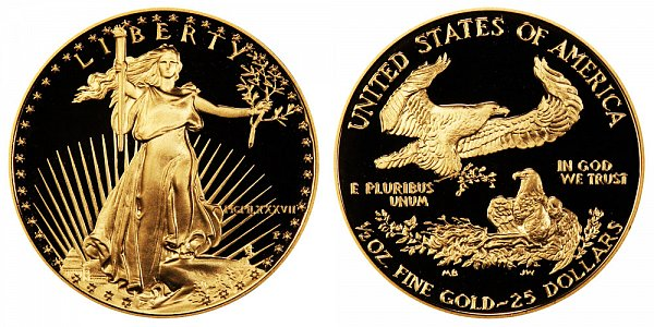 1987 P Proof Half Ounce American Gold Eagle - 1/2 oz Gold $25  - MCMLXXXVII