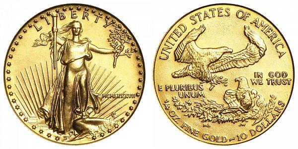 1987 Quarter Ounce American Gold Eagle - 1/4 oz Gold $10  - MCMLXXXVII