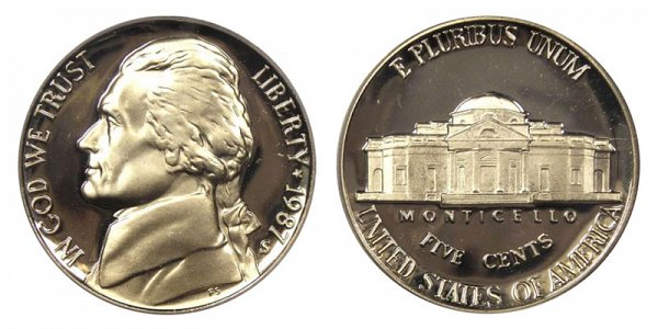 1987 S Jefferson Nickel Proof