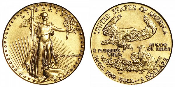 1987 Tenth Ounce American Gold Eagle - 1/10 oz Gold $5  - MCMLXXXVII