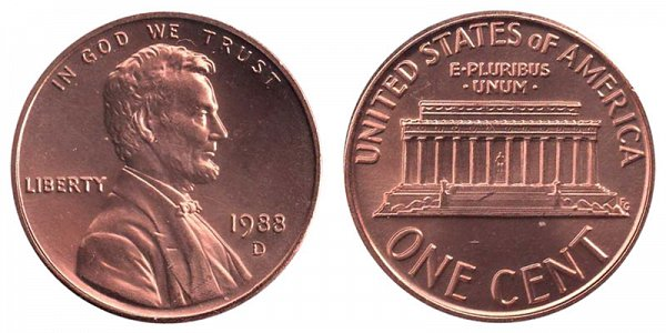1988 D Lincoln Memorial Cent Penny