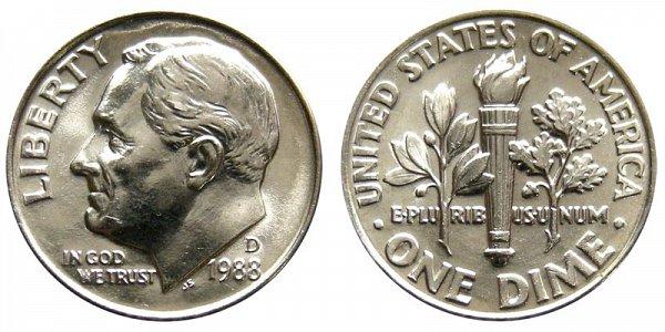 1988 D Roosevelt Dime