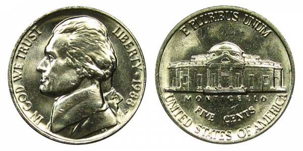 1988 P Jefferson Nickel