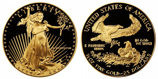 1988 P Proof Half Ounce American Gold Eagle - 1/2 oz Gold $25  - MCMLXXXVIII