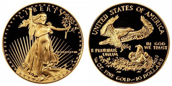 1988 P Proof Quarter Ounce American Gold Eagle - 1/4 oz Gold $10  - MCMLXXXVIII