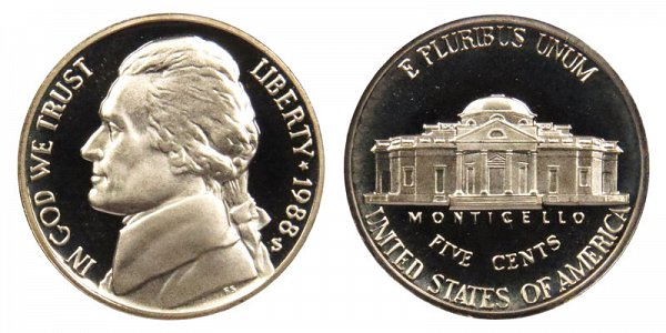 1988 S Jefferson Nickel Proof