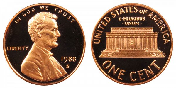 1988 S Lincoln Memorial Cent Penny Proof