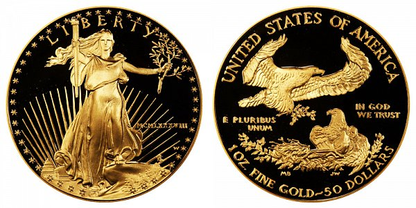 1988 W Proof One Ounce American Gold Eagle - 1 oz Gold $50  - MCMLXXXVIII