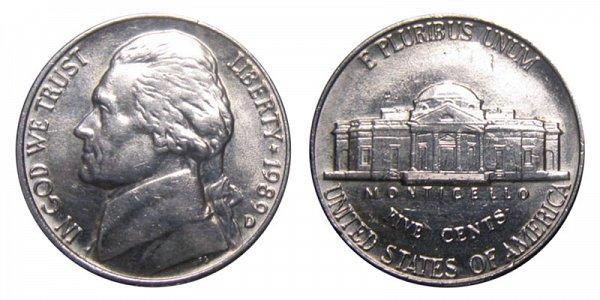 1989 D Jefferson Nickel
