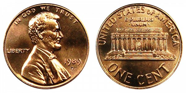 1989 D Lincoln Memorial Cent Penny