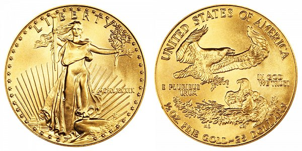 1989 Half Ounce American Gold Eagle - 1/2 oz Gold $25  - MCMLXXXIX