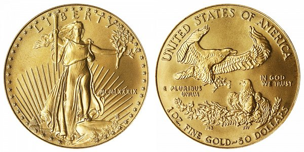 1989 One Ounce American Gold Eagle - 1 oz Gold $50  - MCMLXXXIX