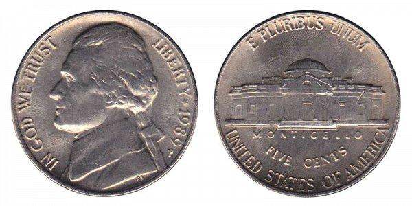 1989 P Jefferson Nickel