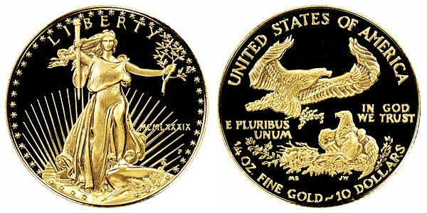 1989 P Proof Quarter Ounce American Gold Eagle - 1/4 oz Gold $10  - MCMLXXXIX