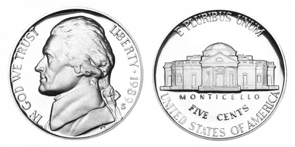 1989 S Jefferson Nickel Proof