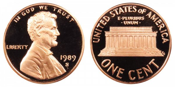 1989 S Lincoln Memorial Cent Penny Proof
