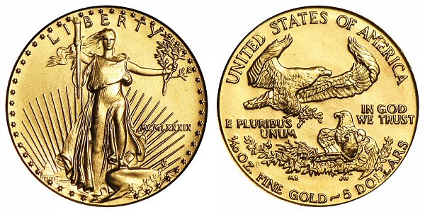 1989 Tenth Ounce American Gold Eagle - 1/10 oz Gold $5  - MCMLXXXIX