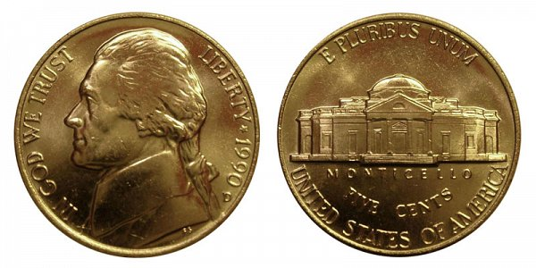 1990 D Jefferson Nickel