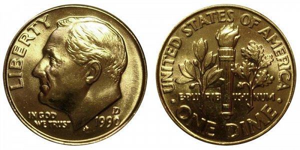 1990 D Roosevelt Dime
