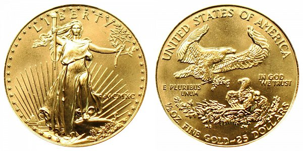 1990 Half Ounce American Gold Eagle - 1/2 oz Gold $25  - MCMXC