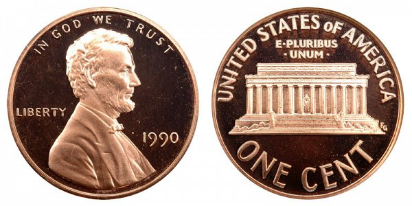 1990 No S Mint Mark Lincoln Memorial Cent Penny Proof