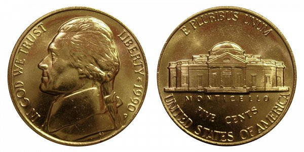 1990 P Jefferson Nickel