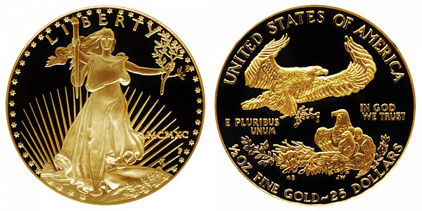 1990 P Proof Half Ounce American Gold Eagle - 1/2 oz Gold $25  - MCMXC