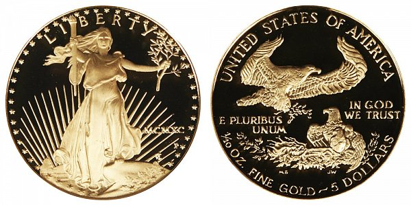 1990 P Proof Tenth Ounce American Gold Eagle - 1/10 oz Gold $5  - MCMXC