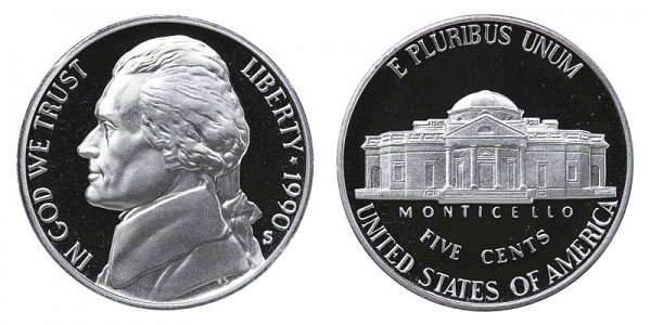1990 S Jefferson Nickel Proof