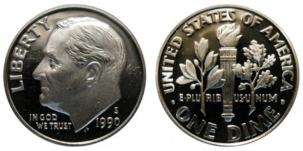 1990 S Roosevelt Dime Proof