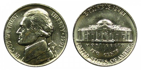 1991 D Jefferson Nickel
