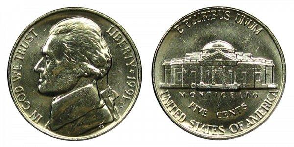 1991 D Jefferson Nickel