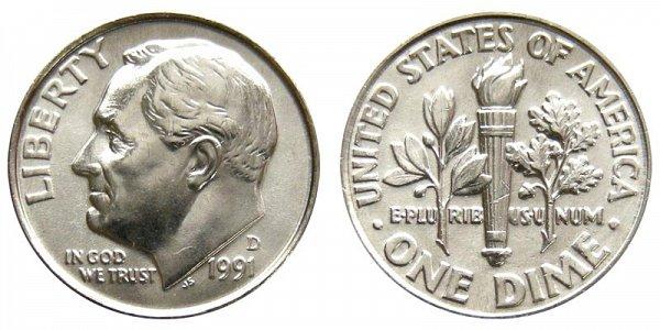 1991 D Roosevelt Dime