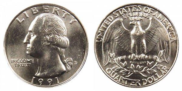 1991 D Washington Quarter