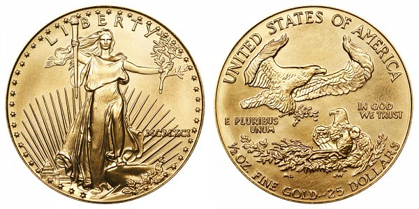 1991 Half Ounce American Gold Eagle - 1/2 oz Gold $25  - MCMXCI