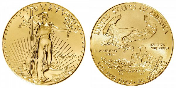 1991 One Ounce American Gold Eagle - 1 oz Gold $50  - MCMXCI