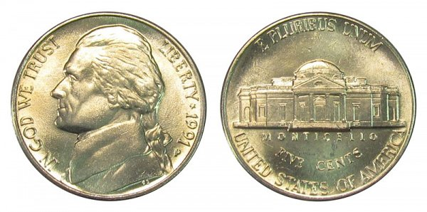 1991 P Jefferson Nickel