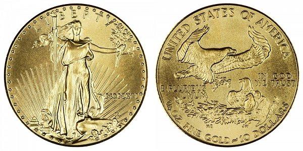 1991 Quarter Ounce American Gold Eagle - 1/4 oz Gold $10  - MCMXCI