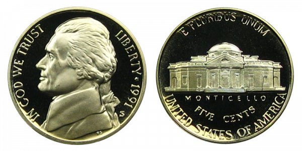 1991 S Jefferson Nickel Proof