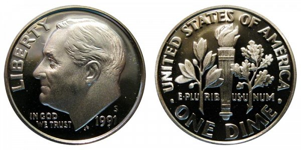 1991 S Roosevelt Dime Proof