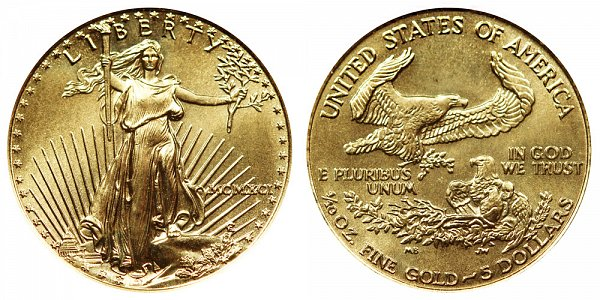 1991 Tenth Ounce American Gold Eagle - 1/10 oz Gold $5  - MCMXCI