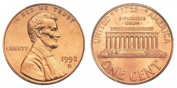 1992 D Close AM Lincoln Memorial Cent Penny