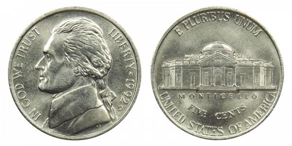 1992 D Jefferson Nickel